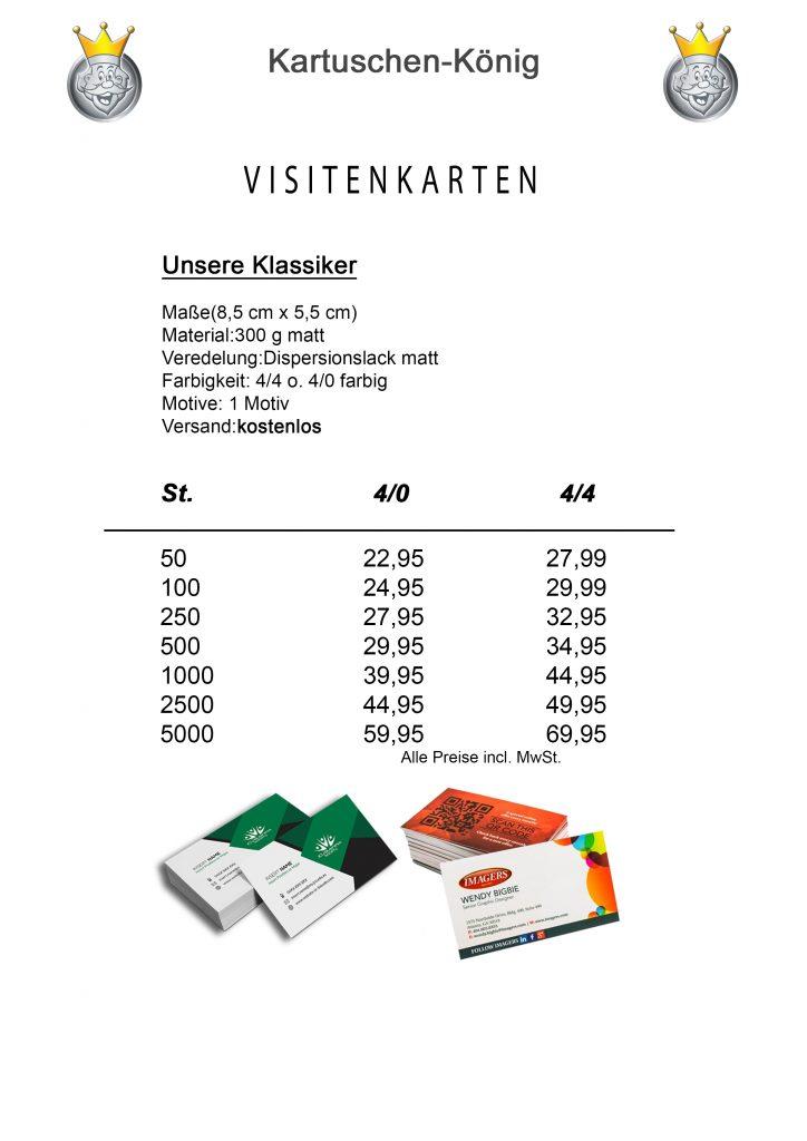 Visitenkarten Kartuschenkönig